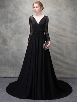 Ericdress A Line V Neck Lace Long Sleeve Evening Dress