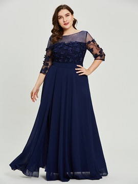 Ericdress Plus Size Scoop Neck Half Sleeves A Line Prom Dress