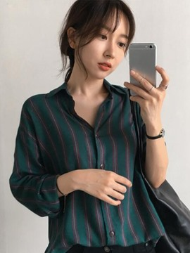 Ericdress Loose Lapel Stripe Mid-Length Blouse