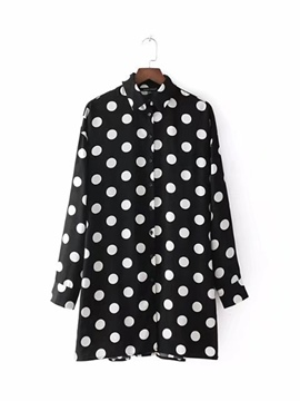 Ericdress Polka Dot Long Sleeve Shirt Women's Day Dress