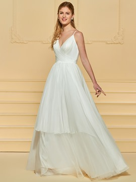 Ericdress Spaghetti Straps A Line Beach Wedding Dress