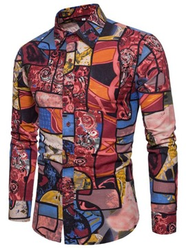 Ericdress Color Block Print Mens Long SLeeve Lapel Slim Shirt