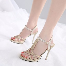 Ericdress Rhinestone Strappy Open Toe Plain Stiletto Sandals