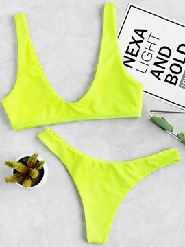 Ericdress Plain Yellow Bikini Suits