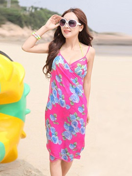 Ericdress Floral Spaghetti Strap Asymmetrical Chiffon Beach Dress