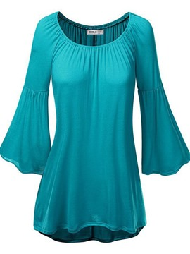 Ericdress Plain Mid-Length Flare Sleeve Tunic Tee