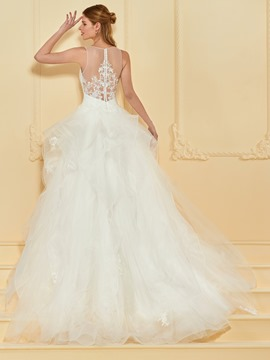 Ericdress Illusion Neckline Appliques Ball Gown Wedding Dress