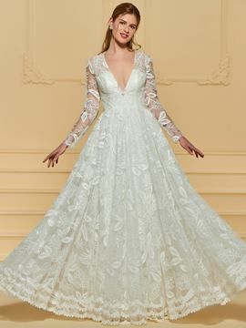 Ericdress Long Sleeves Lace V Neck A Line Wedding Dress