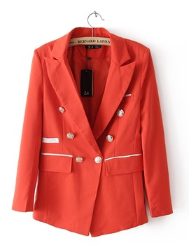 Lapel Button Plain Slim Women's Blazer