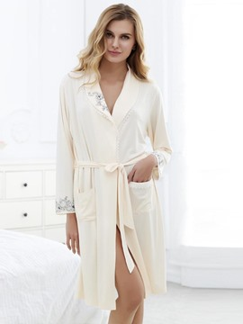 Ericdress Lace-Up Pocket Lace Mid-Length Night-Robe