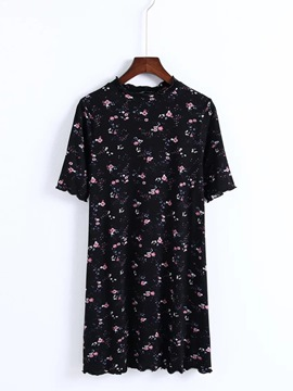 Ericdress Floral Short Sleeve Women's Day Dress