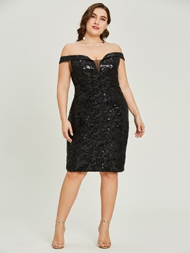 Ericdress Off-the-Shoulder Sequins Sheath Cocktail Dress
