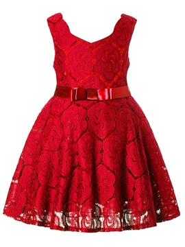 Ericdress Lace Bowknot Girl's Sleeveless Princess Dress