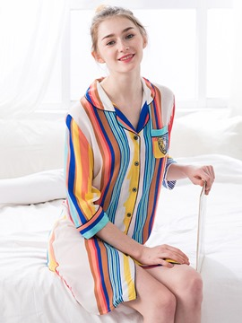 Ericdress Stripe Single-Breasted Lapel Nightgown