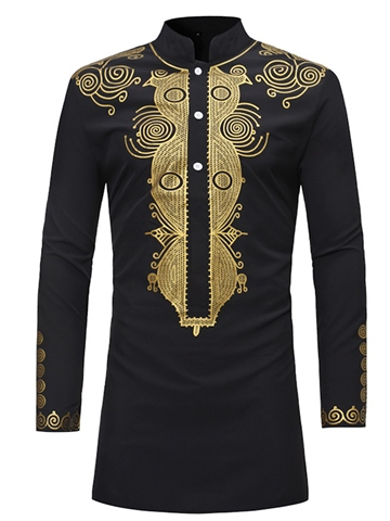 Men's Clothing Black Dashiki African Print Stand Collar Slim Fit Shirt