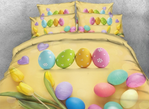 Vivilinen 3D Colorful Easter Eggs with Tulip Printed 4-Piece Yellow Bedding Sets/Duvet Covers