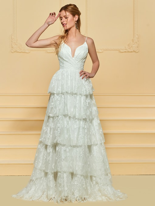 Ericdress Spaghetti Straps A Line Tiered Lace Wedding Dress