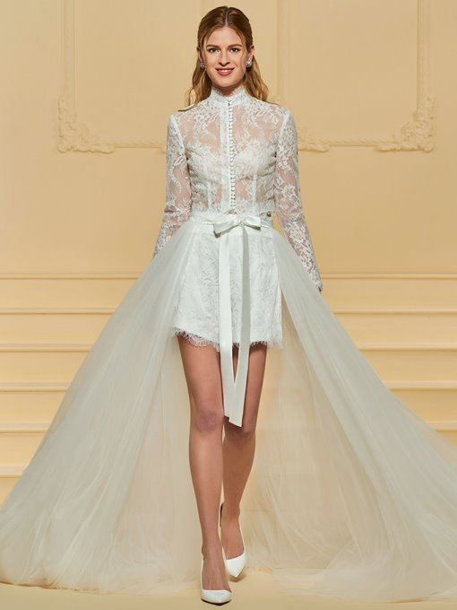 Ericdress 3 Pieces Long Sleeves Lace High Low Wedding Dress