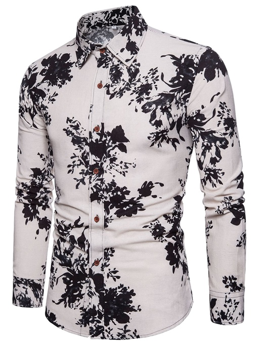 Ericdress Floral Printed Lapel Slim Fit Mens Casual Shirts
