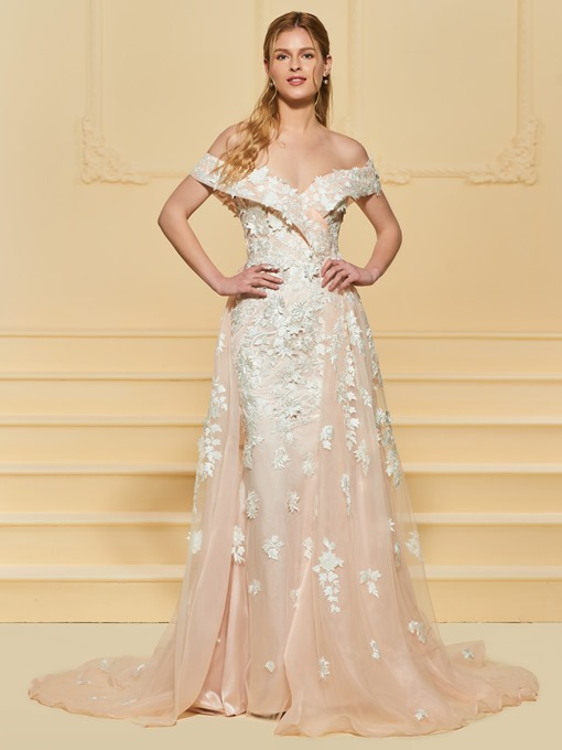 Ericdress Off the Shoulder Appliques Color Wedding Dress