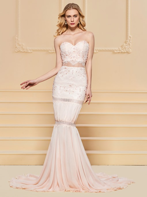 Ericdress Sweetheart Lace Mermaid Evening Dress With Court Train