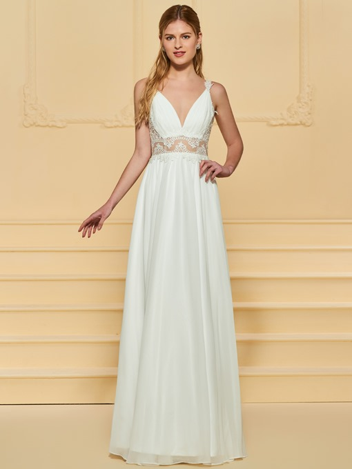 Ericdress Straps Lace Appliques Beach Wedding Dress