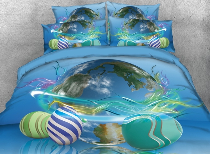 Vivilinen 3D Easter Eggs around the Earth Printed 4-Piece Bedding Sets/Duvet Covers