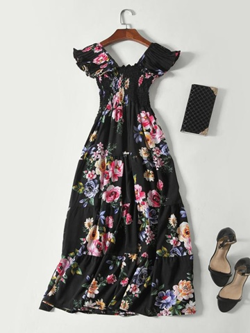Ericdress Floral Print Pleated Expansion Women's Maxi Dress