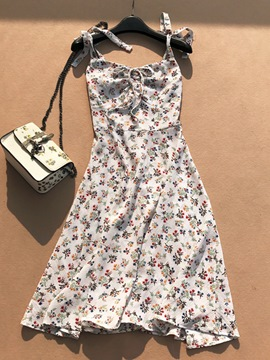 Ericdress Lace-Up Floral Print Spaghetti Strap Women's Day Dress