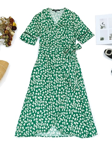 Ericdress Green Wrap Lace-Up Print Women's Maxi Dress