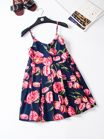 Ericdress Spaghetti Strap Pleated Floral Print Women's Day Dress