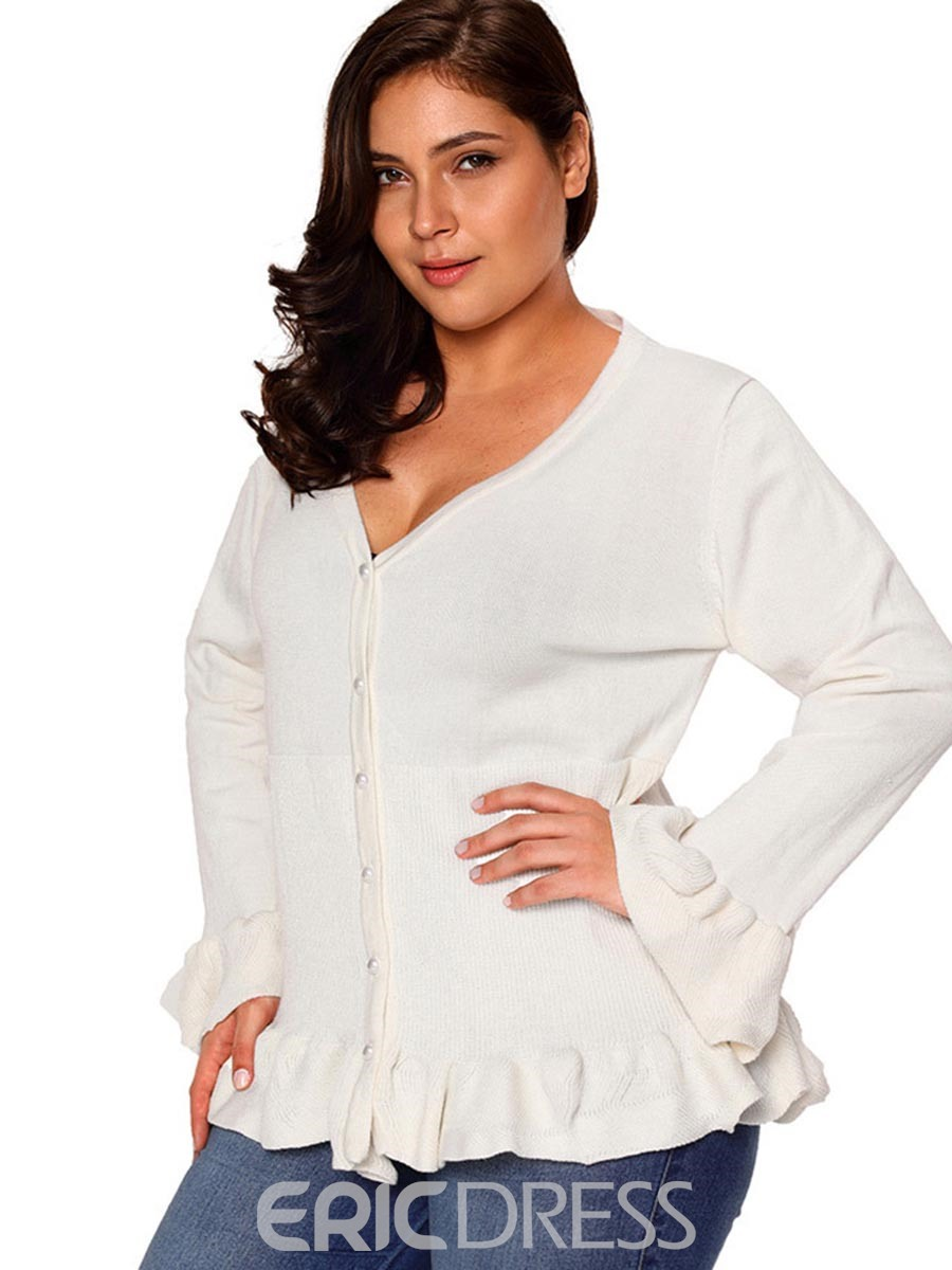 Ericdress Button Flare Sleeve Falbala Plus Size Sweater