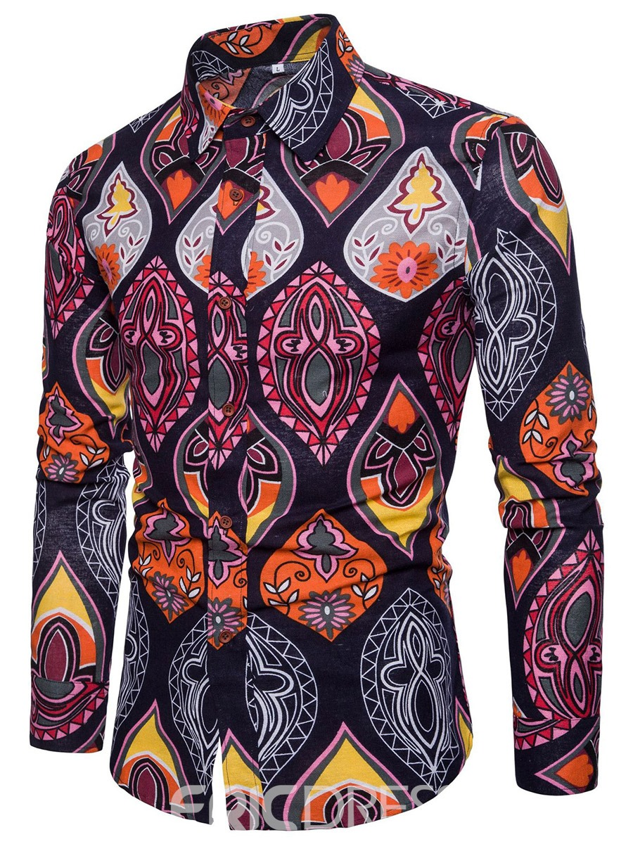 Ericdress Lapel Floral Print Men's Single Breasted Shirts