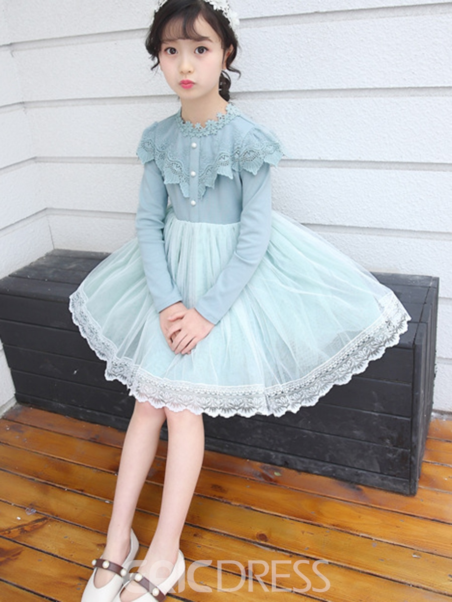 Ericdress Mesh Lace Pleated Girl's Long Sleeve Princess Dress