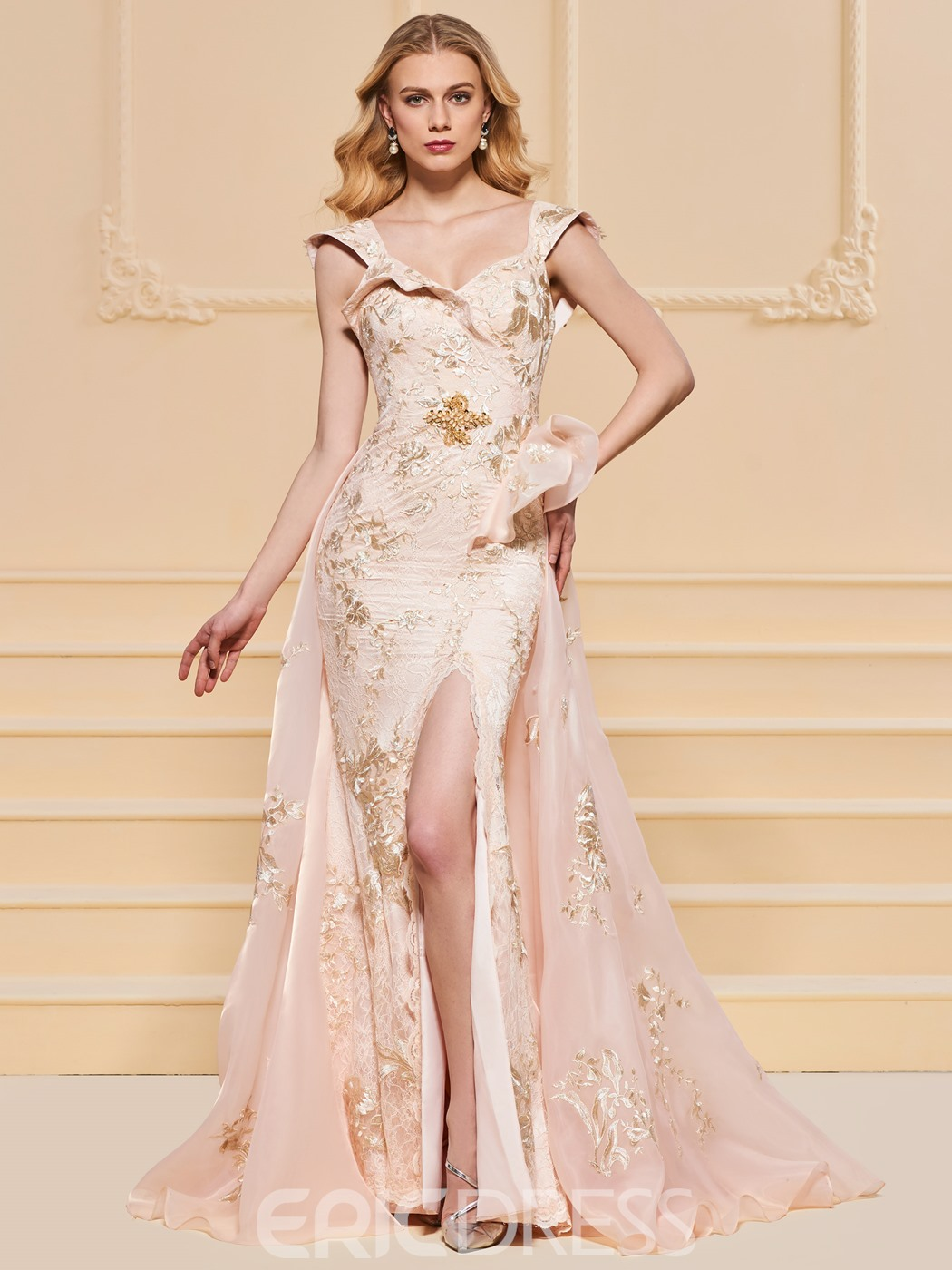 Ericdress Cap Sleeve Split-Front Lace Prom Dress With Train