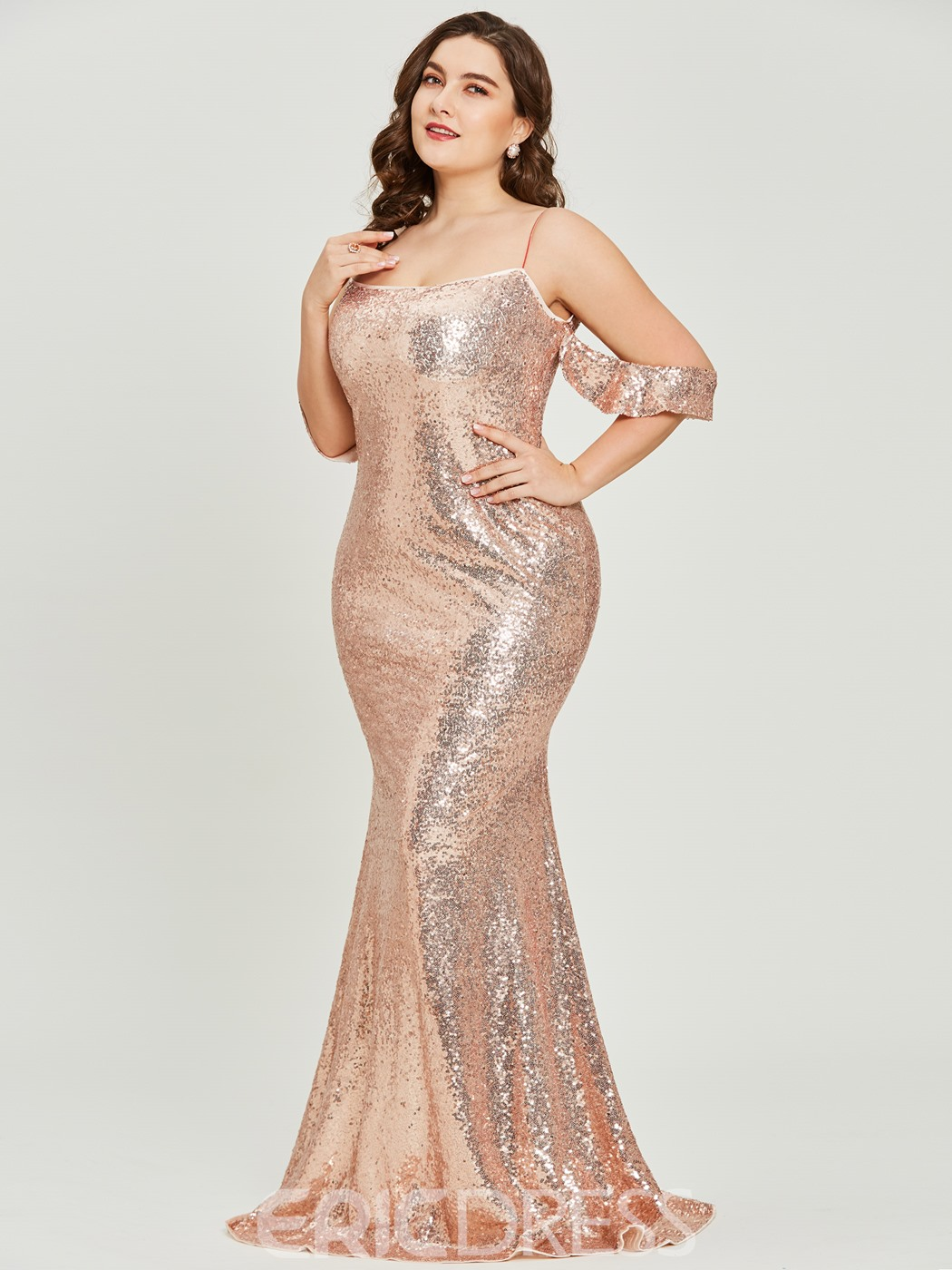 Ericdress Spaghetti Straps Sequins Plus Size Reflective Prom Dress