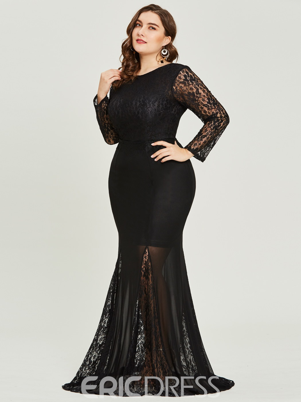 Ericdress Plus Size Scoop Neck Long Sleeves Mermaid Evening Dress ...