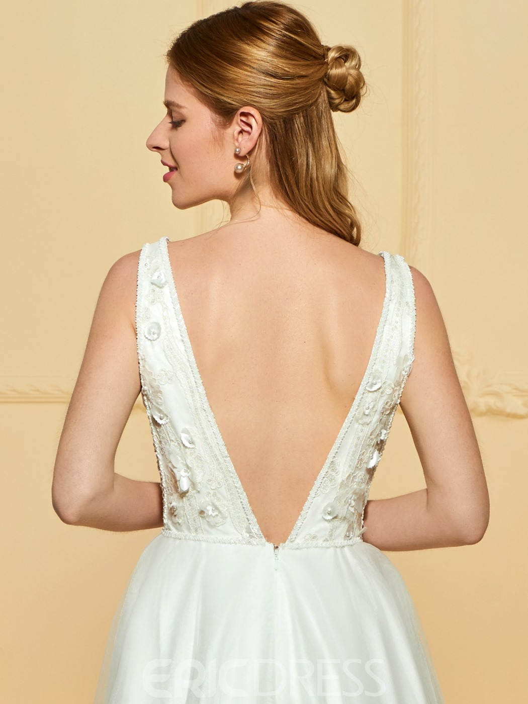 Ericdress Backless A Line Tulle Wedding Dress