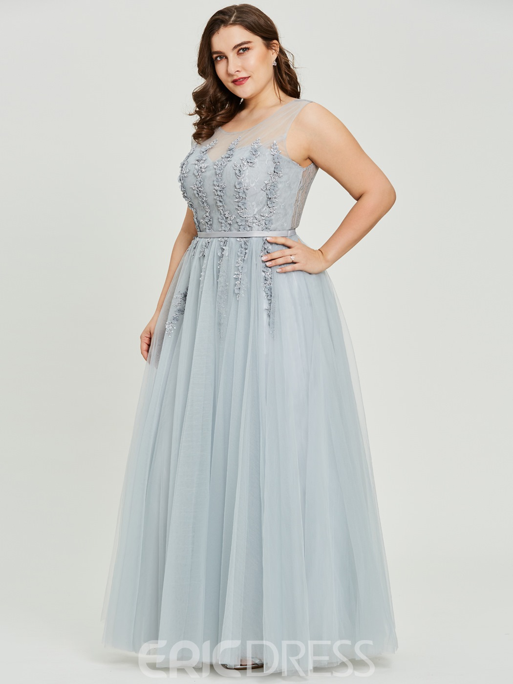 Ericdress Plus Size Scoop Neck Beading A Line Prom Dress 13194089 ...