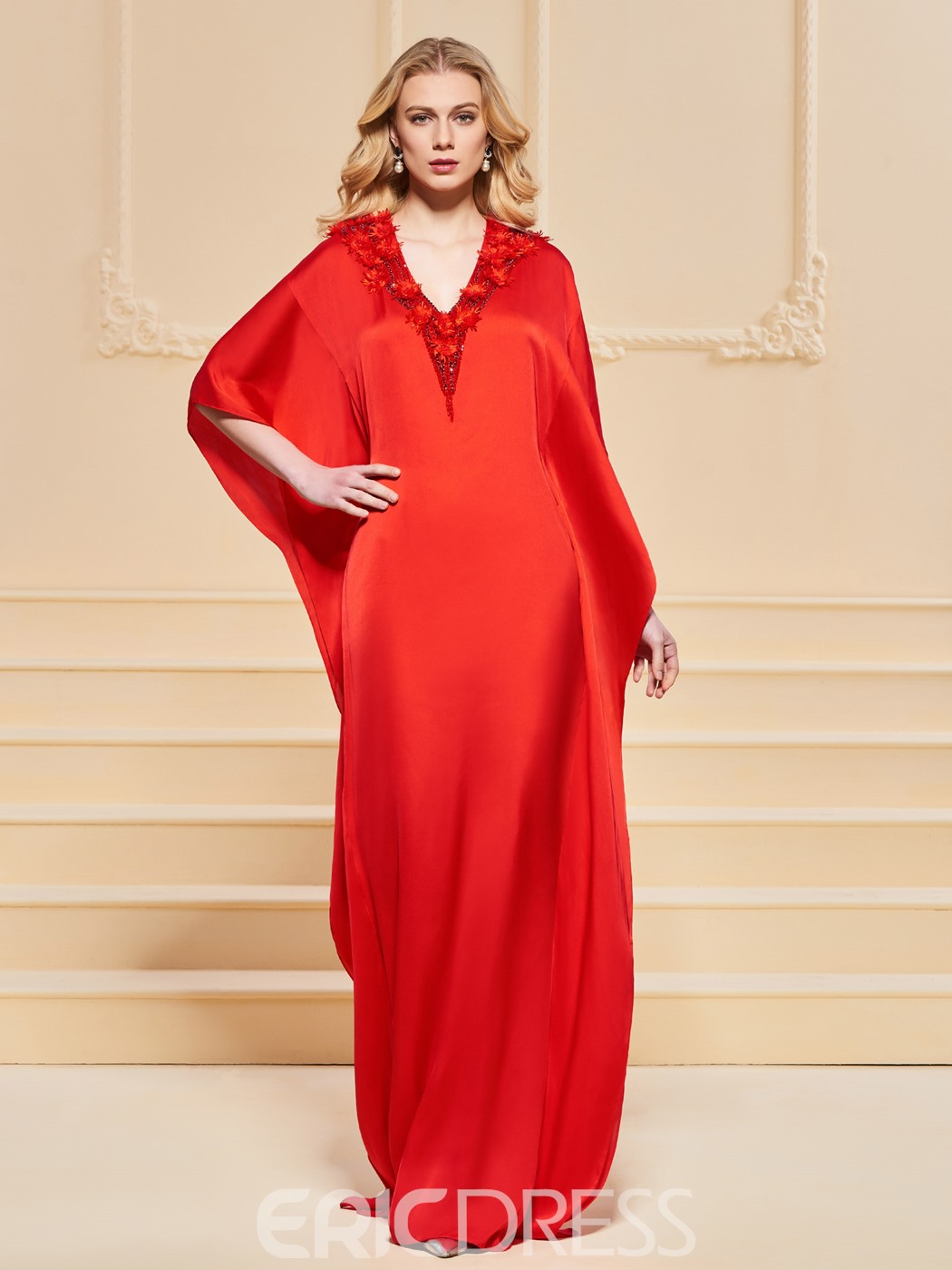 Ericdress A Line V Neck Half Sleeve Red Evening Dress