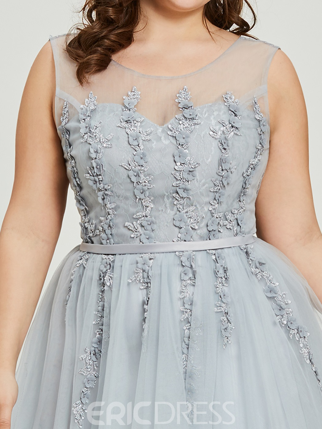 Ericdress Plus Size Scoop Neck Beading A Line Prom Dress