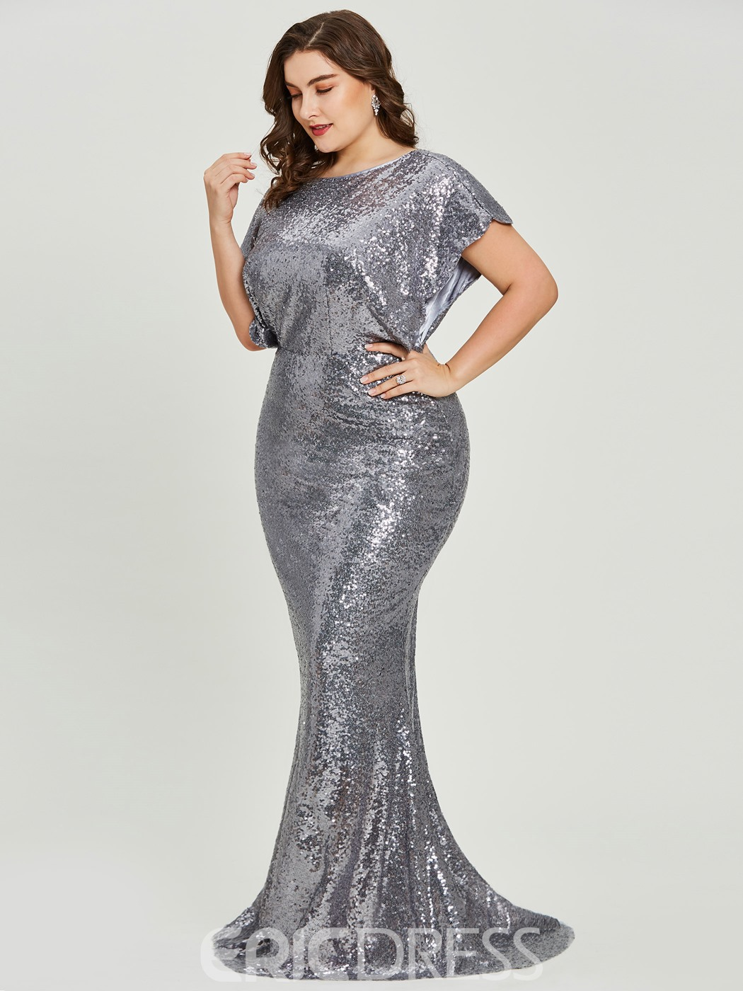 Ericdress Sequins Mermaid Plus Size Evening Dress With Short Sleeves ...