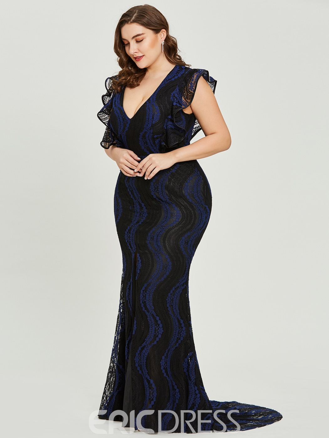 Ericdress V Neck Split-Front Lace Mermaid Evening Dress