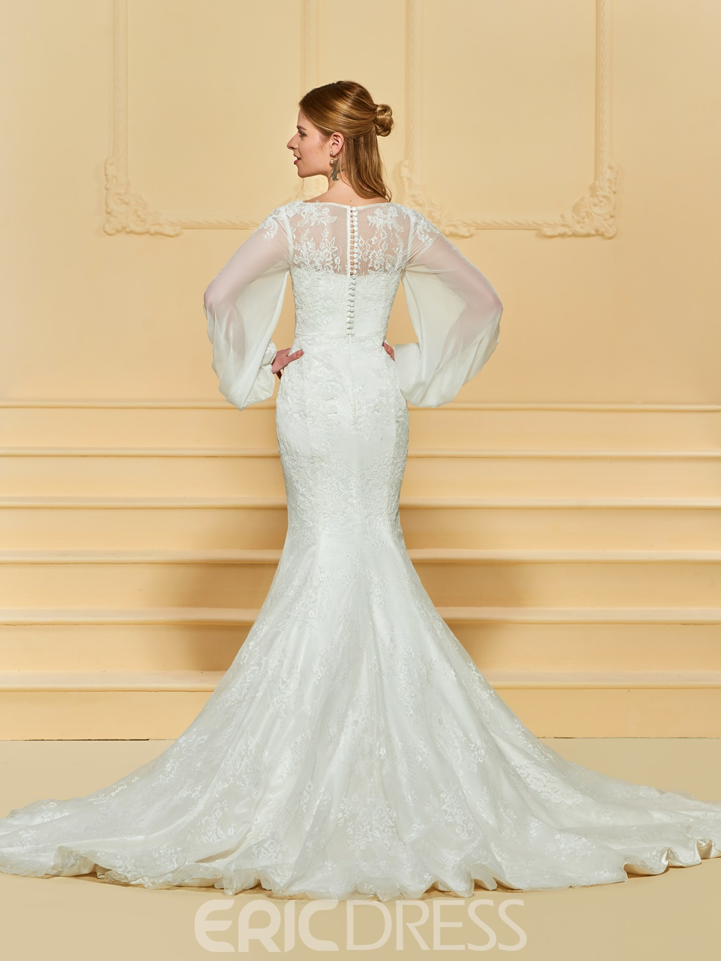 Ericdress Mermaid Lace Long Sleeves Wedding Dress
