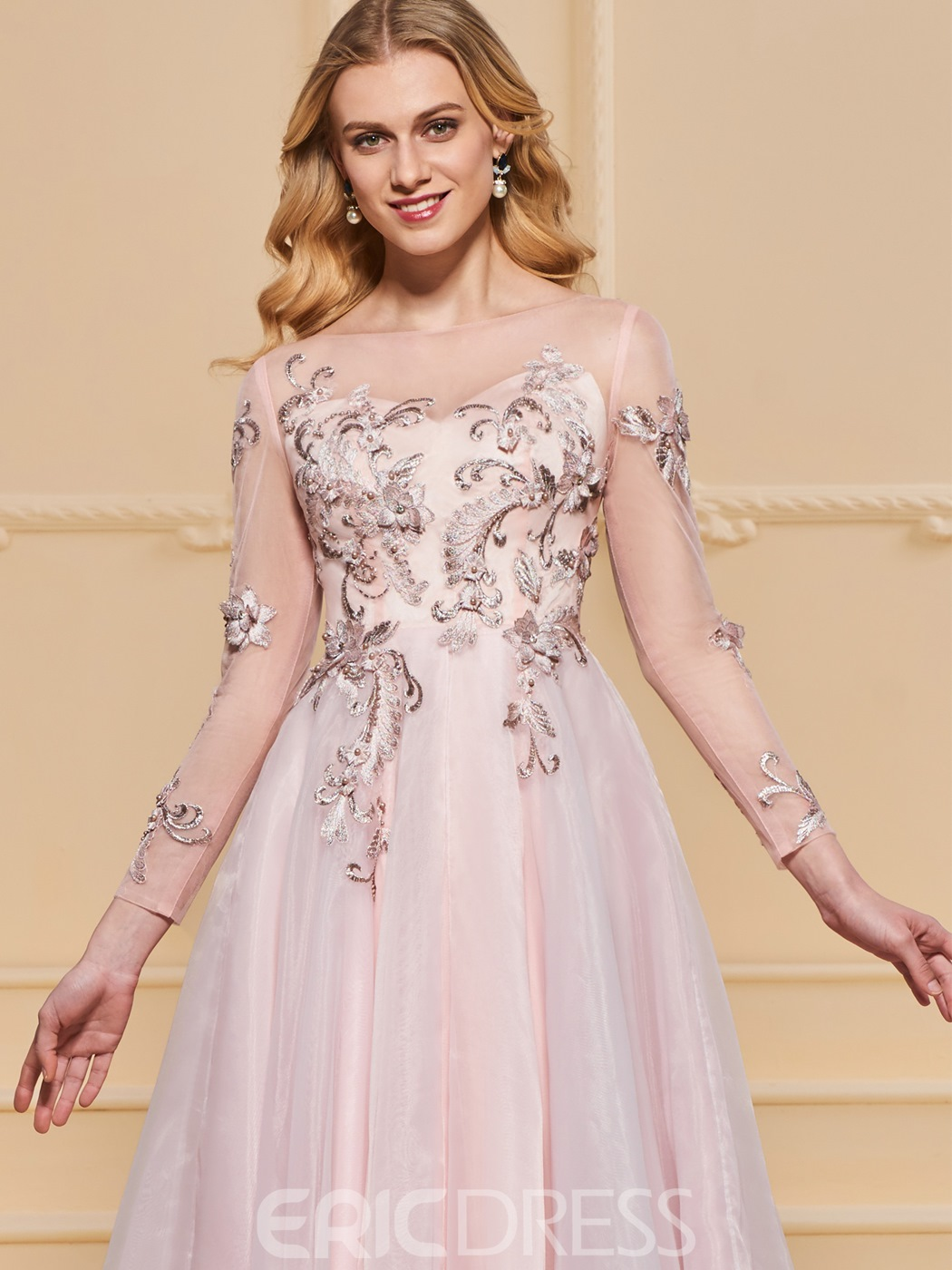 Ericdress A Line Long Sleeve Applique Evening Dress With Beadings