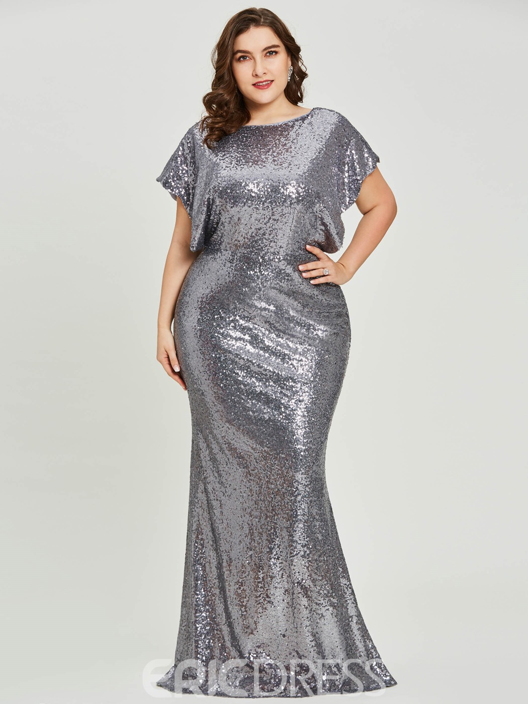 Evening Dress Short Sleeves Sequins Mermaid Plus Size 13179543 ...
