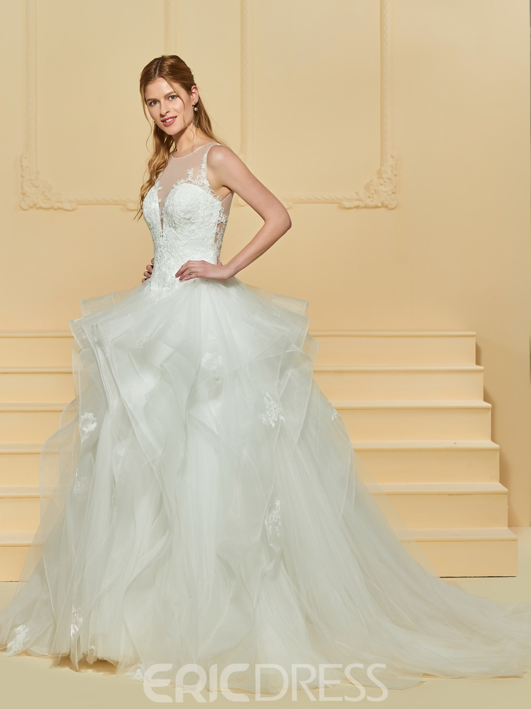 Ericdress Illusion Neckline Ball Gown Tulle Wedding Dress
