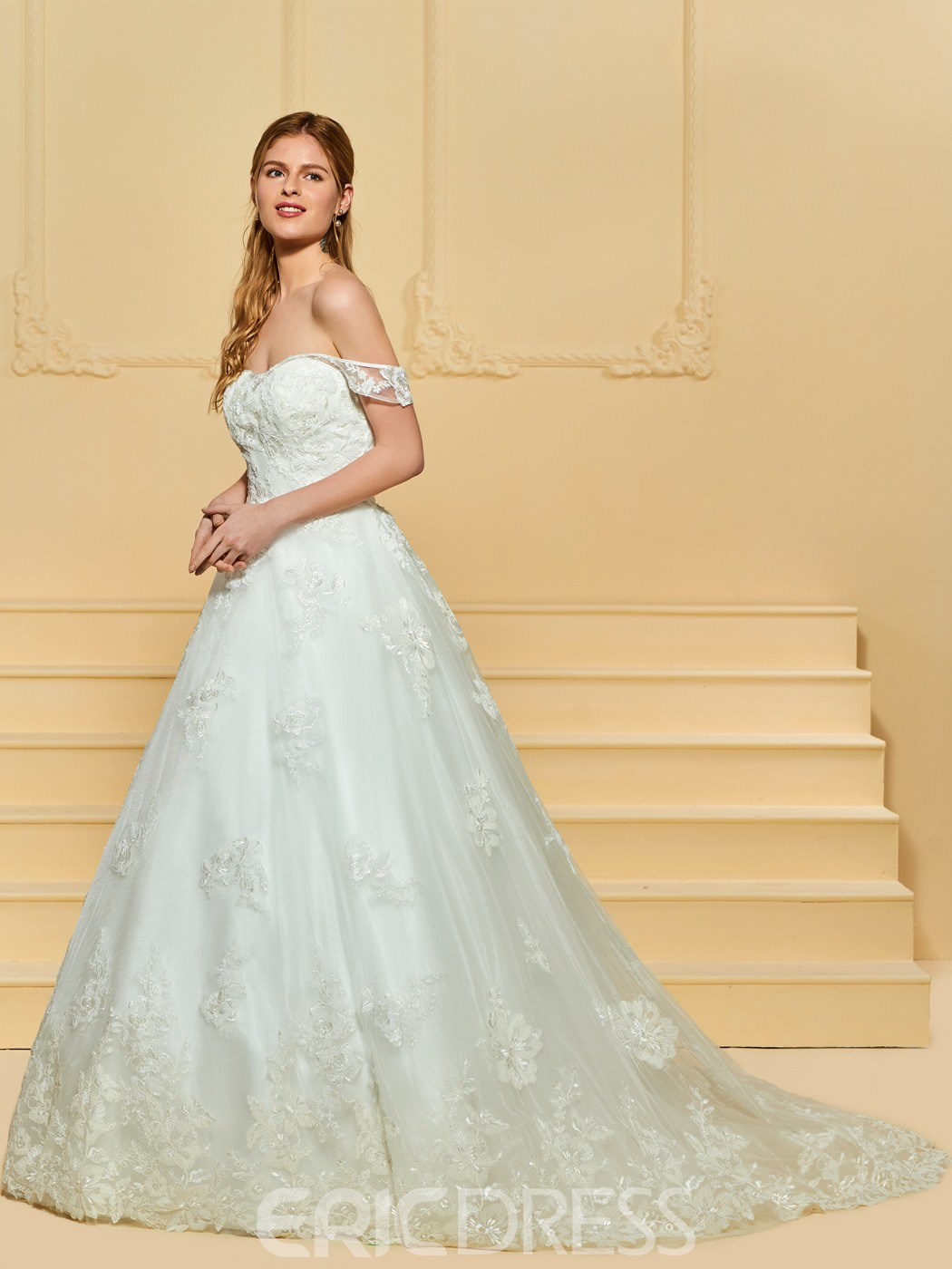 Ericdress Off the Shoulder Ball Gown Tulle Wedding Dress