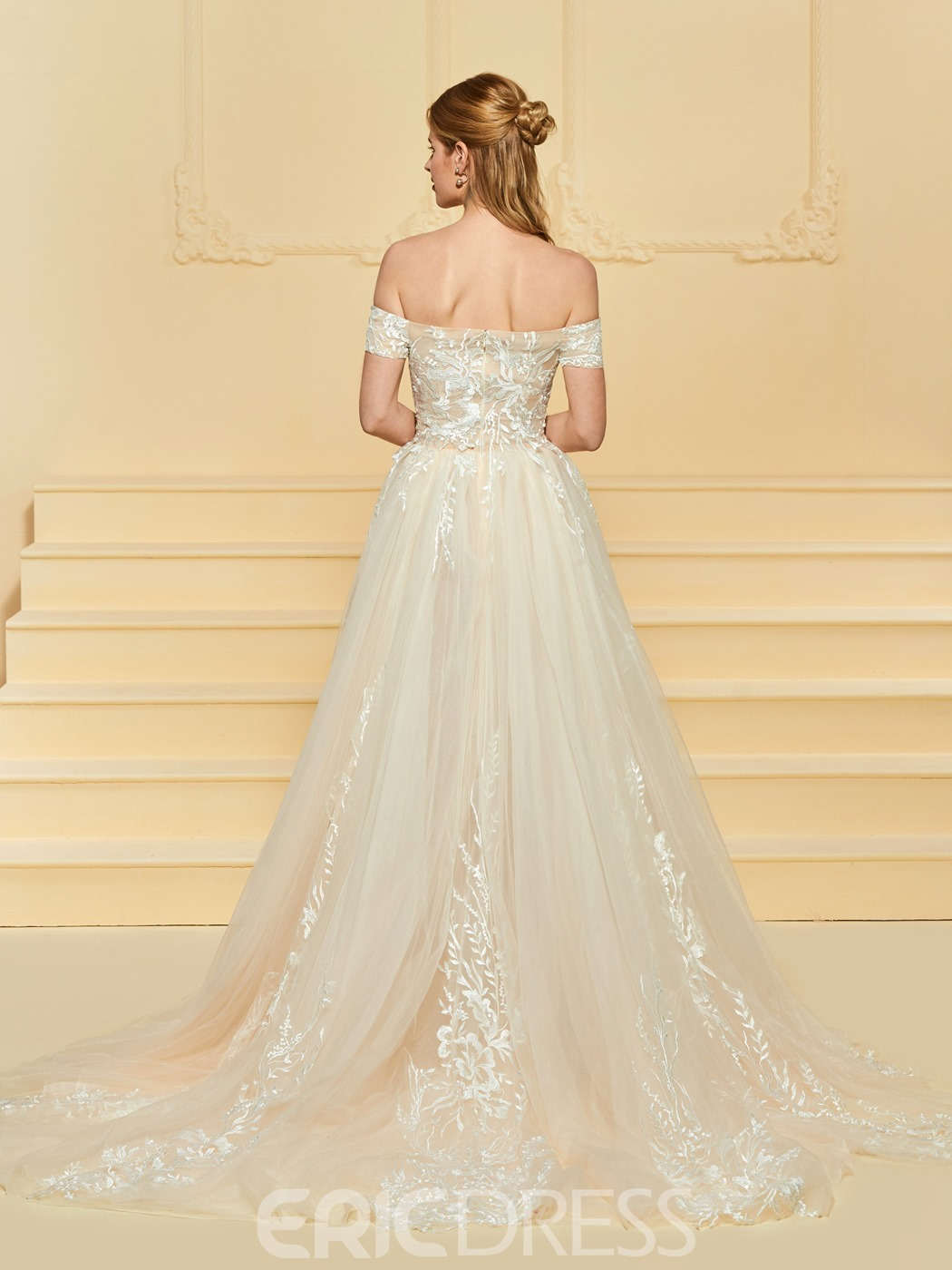 Ericdress Off the Shoulder Tulle Appliques Wedding Dress