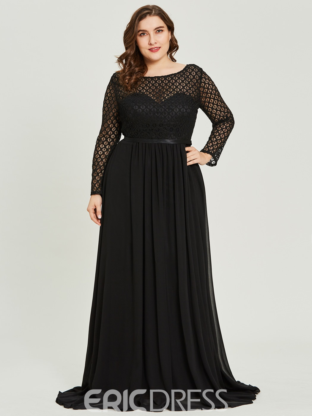 Ericdress Lace Appliques A Line Black Evening Dress